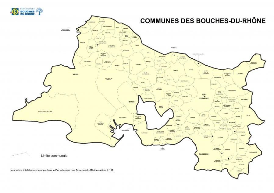 Carte des communes des Bouches du Rhône